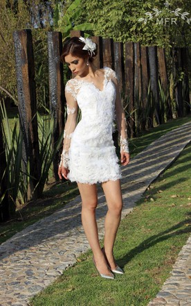 Short wedding dress white bridal gowns june bridals mini lace organza satin dress with flower embroideries junglespirit Image collections