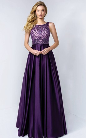 a799ed584ae A-Line Long Bateau Sleeveless Satin Low-V Back Dress With Beading And Lace  ...