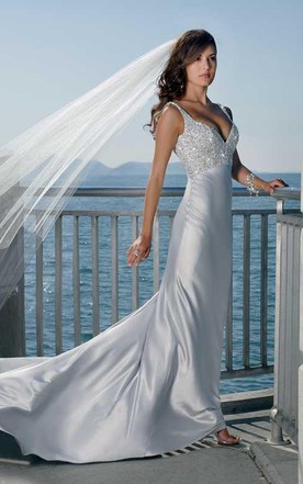 Grey silver wedding dresses june bridals sheath column spaghetti straps v neck elatic woven satin wedding dress junglespirit Image collections
