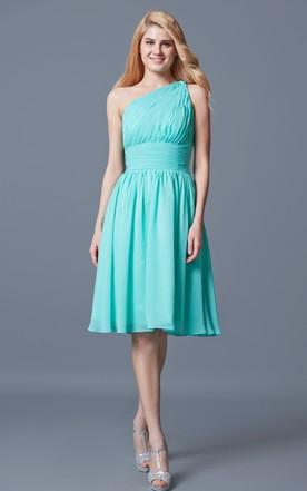 Charming One Strap Pleated Short Chiffon Dress
