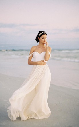 Off The Shoulder Ivory Silk Chiffon Wedding Dress With Lace Bodice
