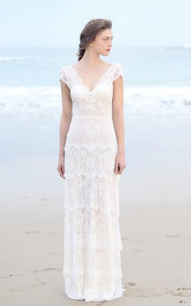 Casual bridal dresses for beach destination wedding gowns june plunged sheath cap sleeve tired boho style wedding dress and deep v back junglespirit Choice Image