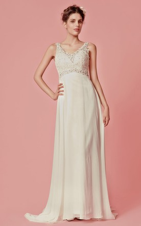 Empire Waist Dress With Glittering Lace Bodice