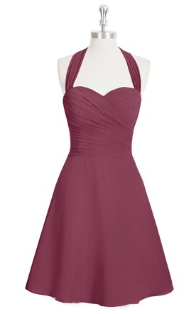 Sweetheart Short A-Line Chiffon Dress With Halter and Ruching