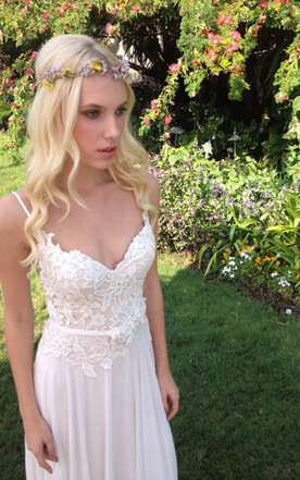 Cheap wedding gowns for summer casual short bridal dresses june chiffon lace weddig dress with beading flower lace up back junglespirit Choice Image