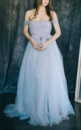 Dusty & Dirty Blue Bridesmaids Dress, Pale Blue Dresses for ...