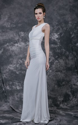 Stunning Scoop Neck Column Bridal Gown with Ruching Detail