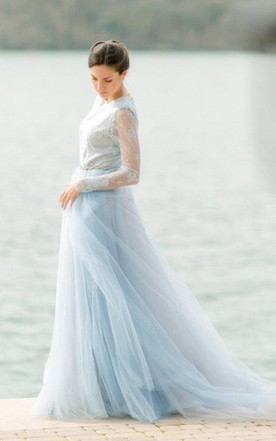 Cheap Light Blue Wedding Dress, Pale Blue Wedding Dress - June Bridals