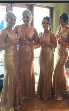 Stunnning V-Neck Sequins Gold Bridesmaid Dresses 2016 Plus Size Long Floor Length