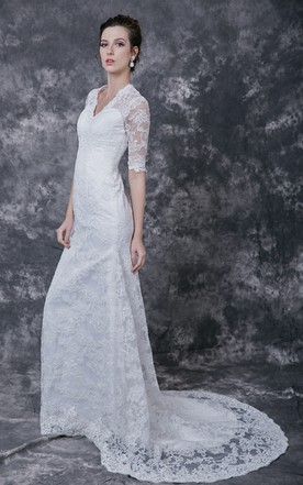 ... 1920u0027s Vintage Inspired Half Sleeves Back Keyhole Lace Gown Court Train