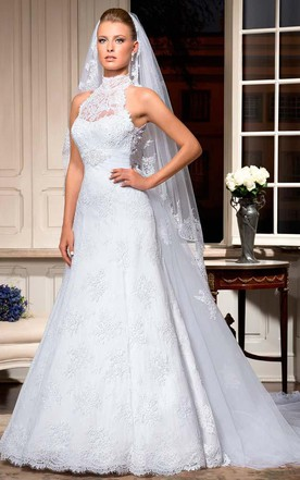 Y White Lace Sleeveless High Neck Floor Length Wedding Dresses
