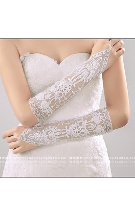New Western Style Heavy Hand-beaded Long Lace Gloves