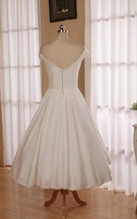 f09ea5911b ... V-Neck Sleeveless Button Back Tea-Length Satin Wedding Dress