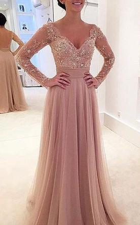 dd42aa04d000 Elegant Long Sleeve Lace Appliques 2018 Evening Dress Tulle Detachable ...