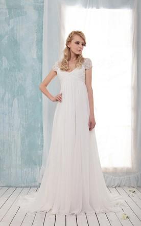 8307dfbdd472 V-Neck Cap Empire Long Chiffon Wedding Dress With Ruching And Pleats ...