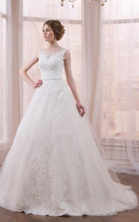 Sleeveless Sleeve Tulle Lace Weddig Dress