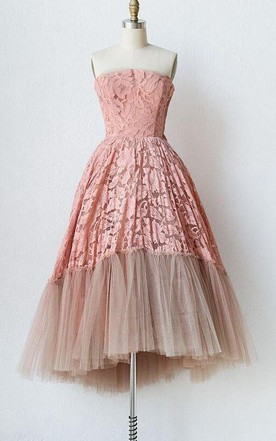 Strapless A Line Knee Length Lace Tulle Dress