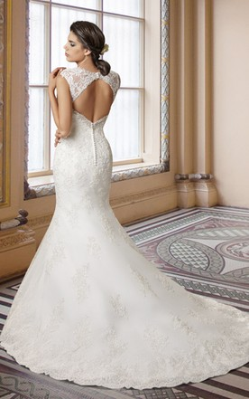 Cap Sleeve Mermaid Lace Long Wedding Dress