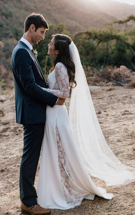 Wedding dress for winter warm bridal gowns june bridals jewel neck lace long sleeve chiffon wedding dress with illusion junglespirit Gallery
