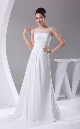 Illusion-Neck Criss-Cross Ruched Chiffon Dress With Beading