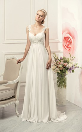 57f774670 Sheath Long Straps Sleeveless Empire Corset-Back Chiffon Dress With Waist  Jewellery And Pleats ...