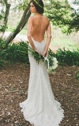 Open back wedding gowns backless bridal dresses june bridals mermaid mini spaghetti straps sleeveless bell ruffles court train backless zipper lace up back straps junglespirit Images