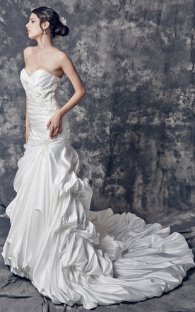Soft Satin Strapless Mermaid Style Bridal Gown With Amazing Embroidery and Train