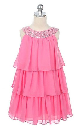 Sleeveless Tiered Dress With Sequined Neckline