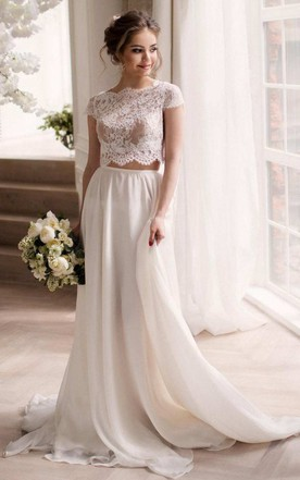 55afb97b9 Bateau Short Sleeve Two-Piece Chiffon Wedding Dress With Lace Top ...