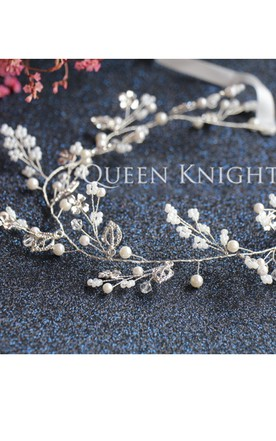 Western Style Wind Beaded Flower Alloy Silver White Hair Band