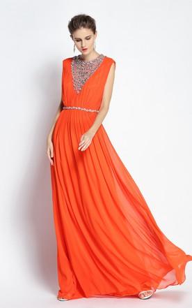 afc83b6990 A-Line Jewel Sleeveless Floor-length Chiffon Prom Dress with Beading and  Low- ...