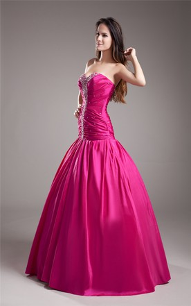 A-Line Taffeta Ball Gown With Ruching And Embellished Bodice