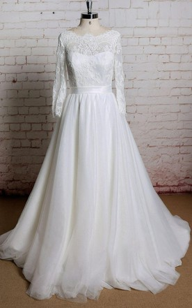 Bateau Neck Long Sheer Sleeve Wedding Dress With Simple Tulle Skirt