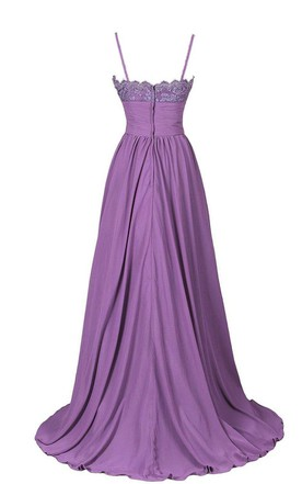 Sleeveless Empire Chiffon Gown With Spaghetti Straps
