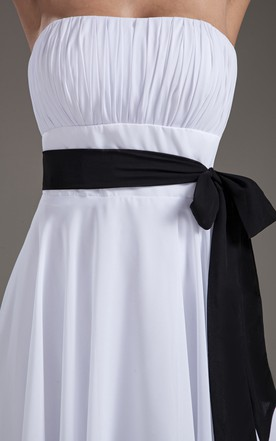 Strapless Midi Chiffon Dress With Bow And Sash