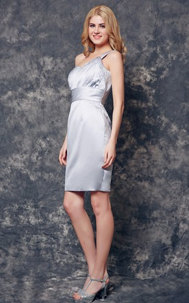 One Shoulder Short Satin Dress With Ruched Top