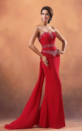 Captivating Sequined Neckline Sweetheart Sleeveless Column Dress