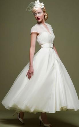 Ankle Length A Line Ribboned V Neck Cap Sleeve Tulle Wedding Dress