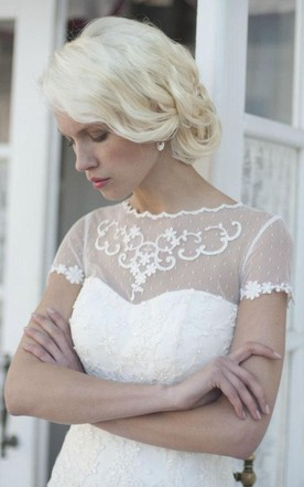 Rustic Lace Ivory Satin Bridal With Train Dress