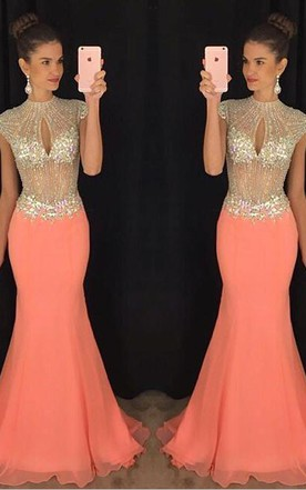 7eff62c26e3c Stunning High-Neck Crystal Prom Dresses 2018 Mermaid Long Chiffon Party Gown  ...