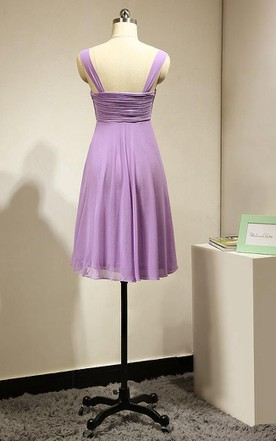 Short A-line Dress With Ruched Bodice and Straps