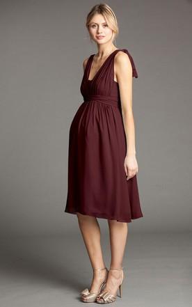 2a09c14f23709 ... Knee-Length V-Neck Bowed Empire Chiffon Bridesmaid Dress With Straps
