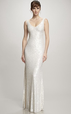 35f1f14d715 Floor-Length V-Neck Sequins Wedding Dress With Brush Train And V Back ...