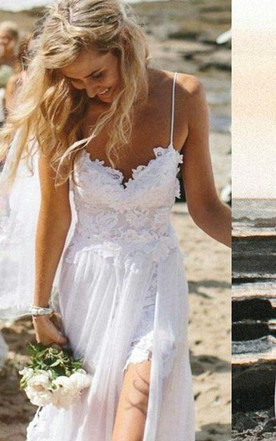 Elegant Spaghetti Straps Lace Appliqeus Beach Dress Long Chiffon