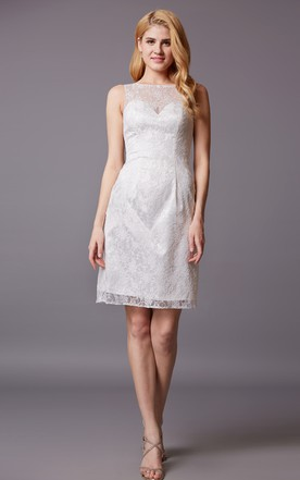 Sleeveless Sheath Shot Lace Dress With Bateau Neck