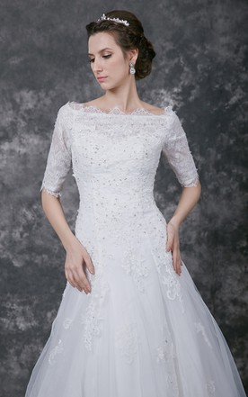 9b320be8f5e ... Illusion Half Sleeve A-line Tulle Gown With Lace Appliques and Beading