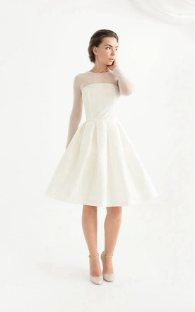 Knee Wedding Dress with Sleeve, Mid Length Sleeves Bridals Dresses ...