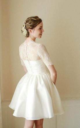 ... High Neck Short A Line Tutu Skirt With Lace Bodice