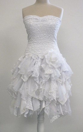 Strapless Short Ruffled A-Line Wedding Dress With Dropped Waist