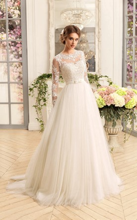 8e6ae2a53cb3 A-Line Floor-Length Jewel Illusion-Sleeve Lace-Up Tulle Dress With ...